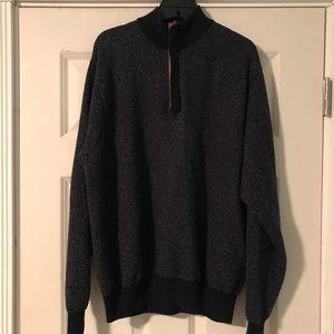 Peter Millar Mens Wool Cashmere Navy 1/4 Sweater